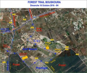Plan d'acces au Forest Trail Boouskoura 2016